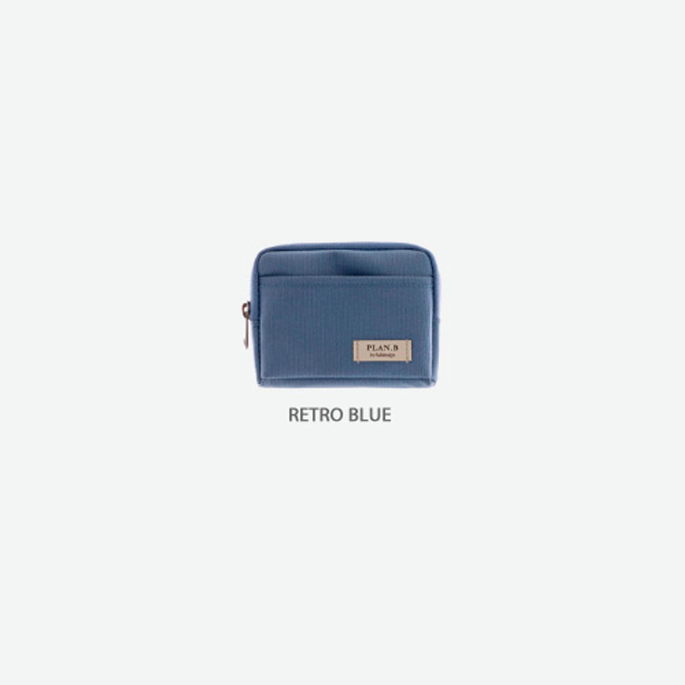 Retro blue - Byfulldesign Oxford multi small pocket zipper pouch ver2