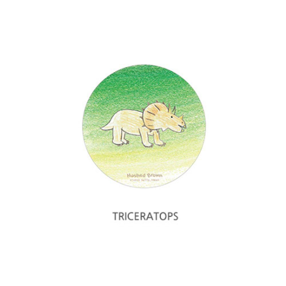 Triceratops - Hello Today Hushed brown hand drawing round magnet