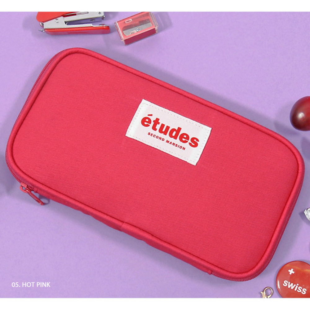 Hot pink - Second Mansion Etudes zip around fabric pencil case pouch