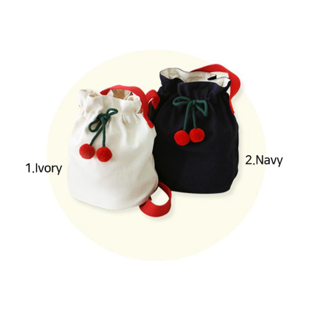 Color - ROMANE Cherry cotton crossbody bucket bag