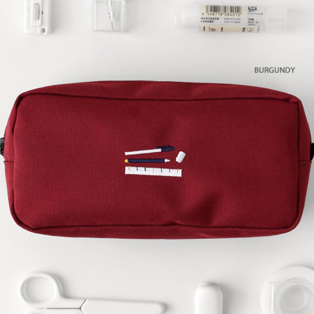 Burgundy - 2NUL Bulky zipper pencil case pen pouch