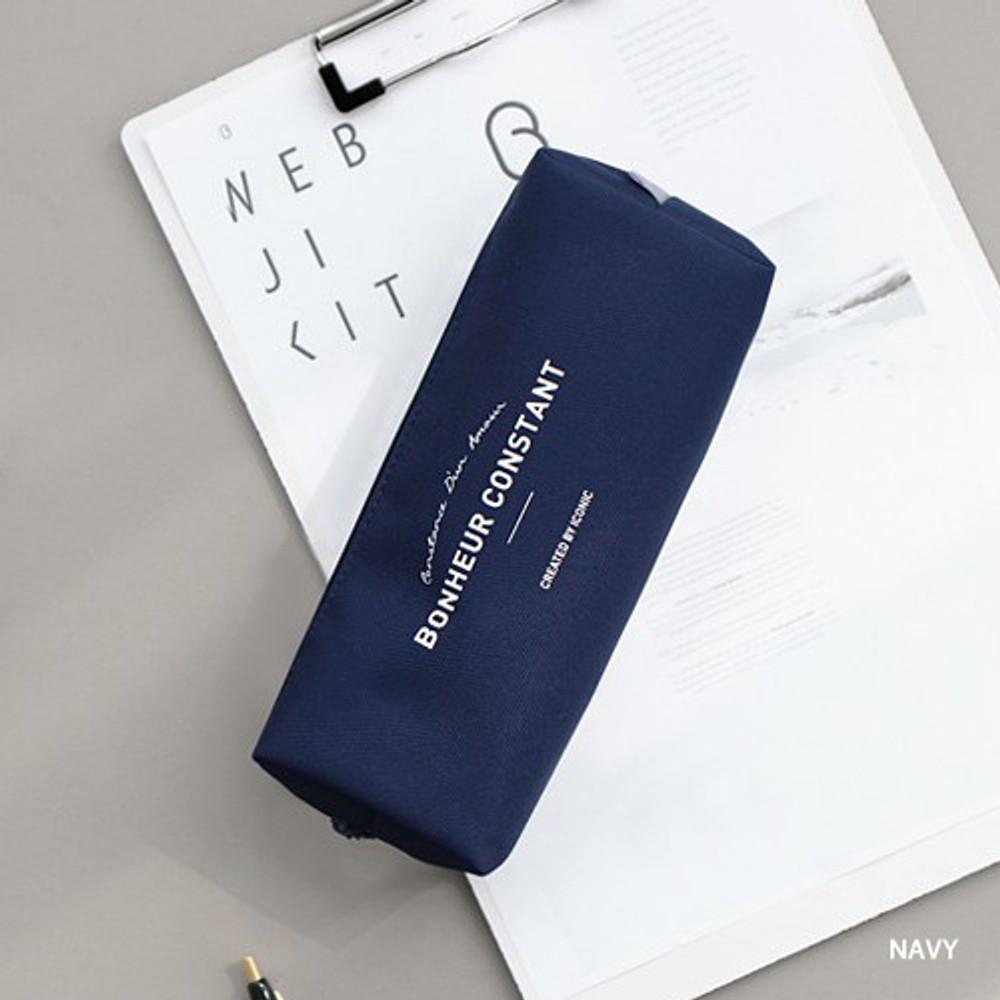 Navy - ICONIC Bonheur constant zipper pencil case pen pouch
