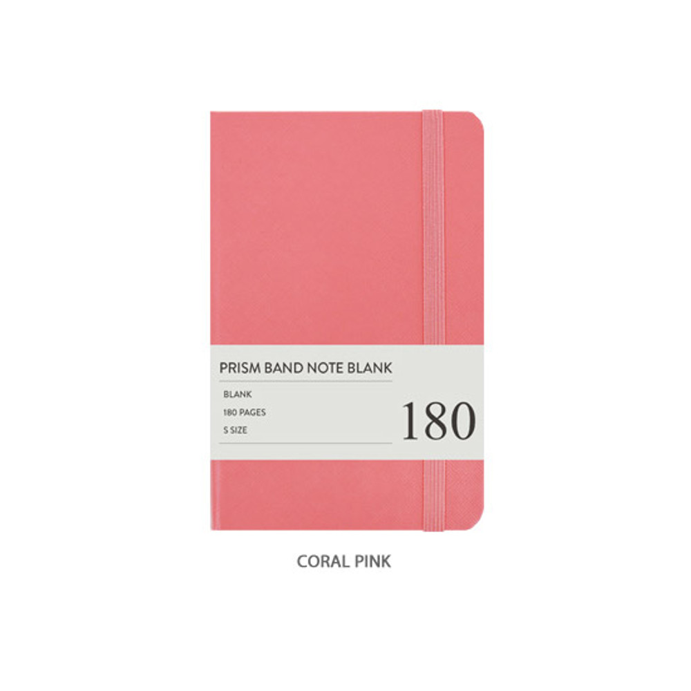 Coral pink - Indigo Prism 180 pages small blank notebook with elastic band