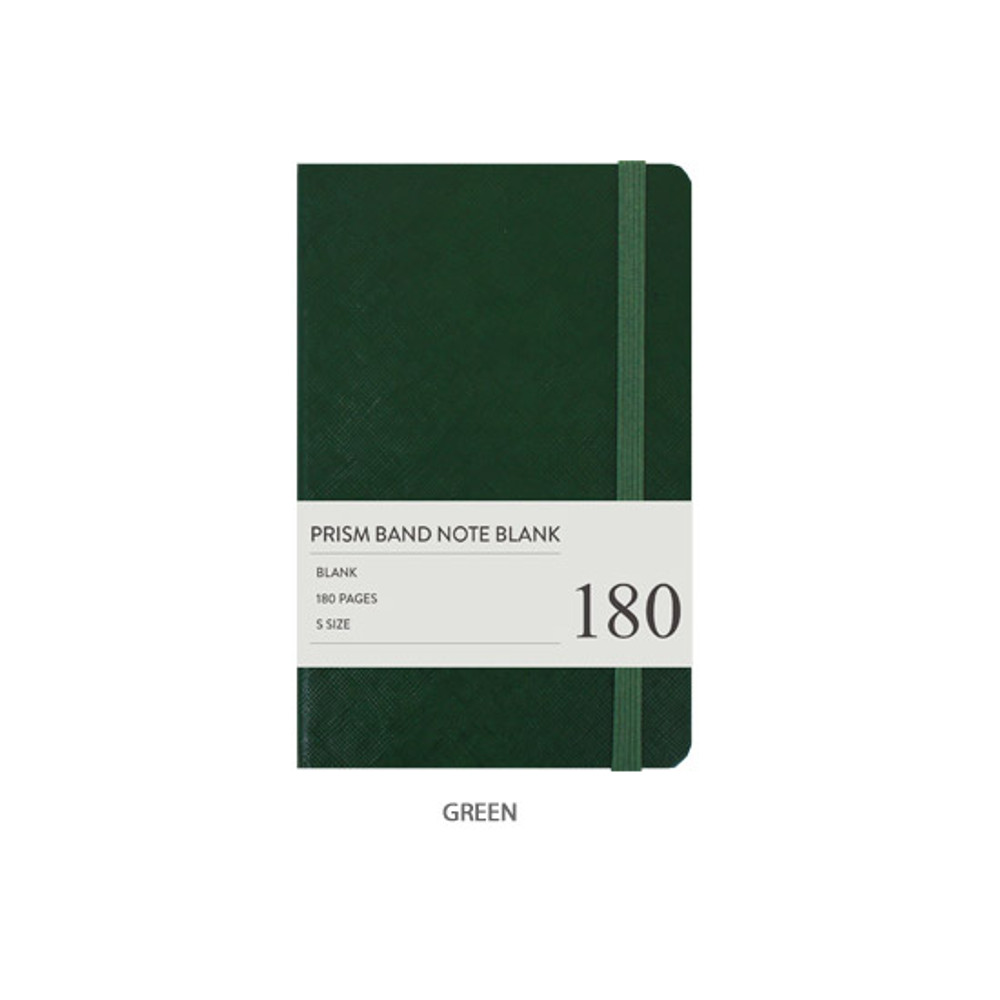 Green - Indigo Prism 180 pages small blank notebook with elastic band