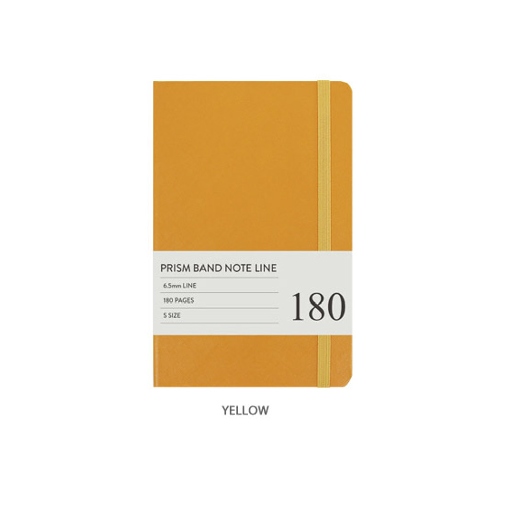Yellow - Indigo Prism 180 pages small lined notebook with elastic band