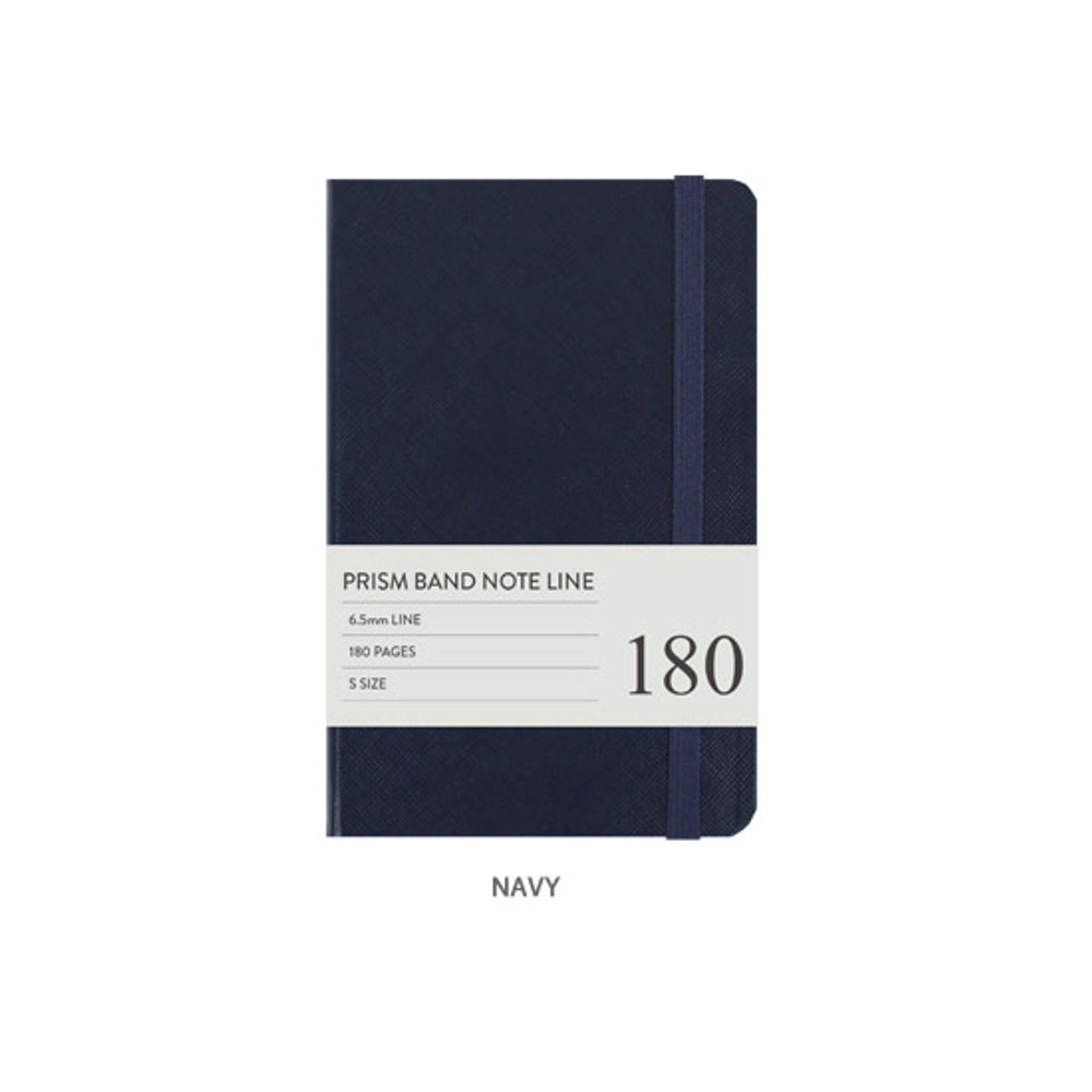 Navy - Indigo Prism 180 pages small lined notebook with elastic band