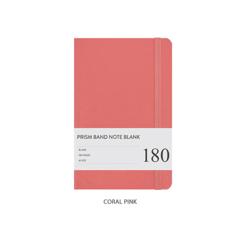 Coral pink - Prism 180 pages medium blank notebook with elastic band