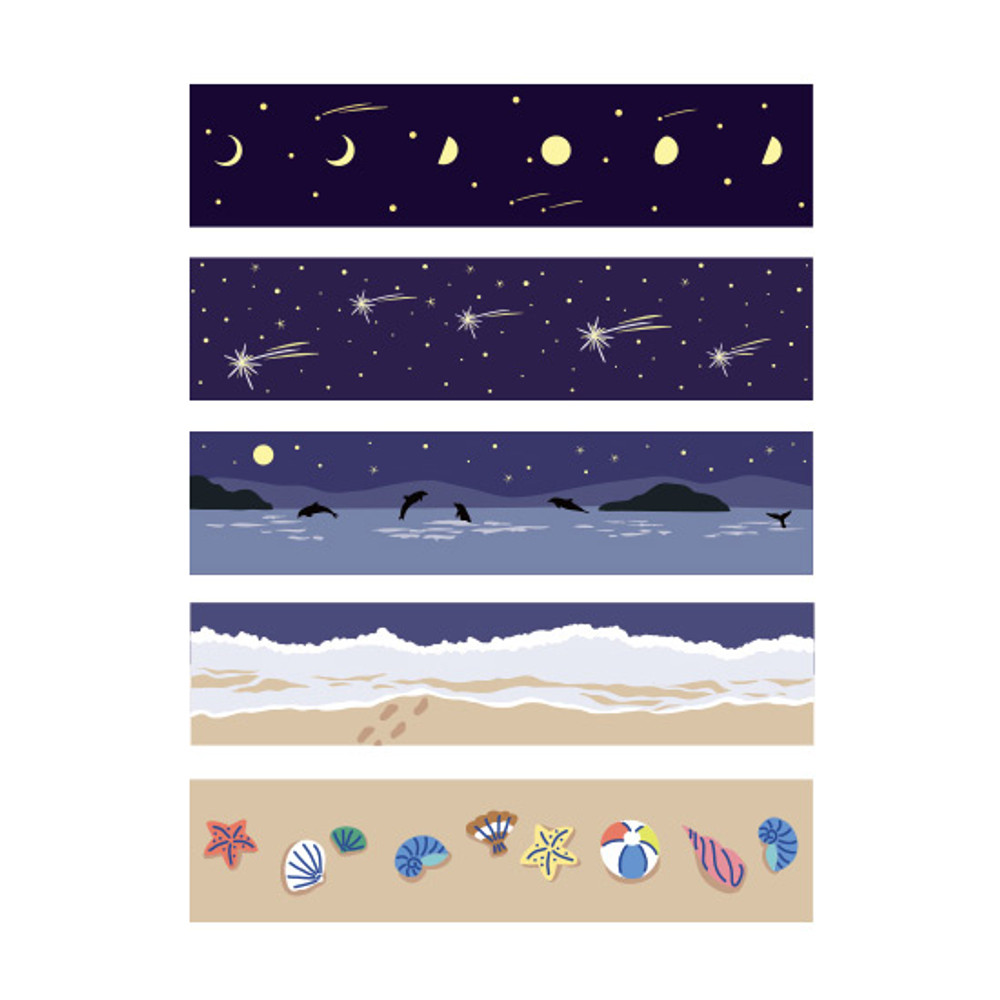 Dailylike Midnight masking seal paper deco sticker 4 sheets set