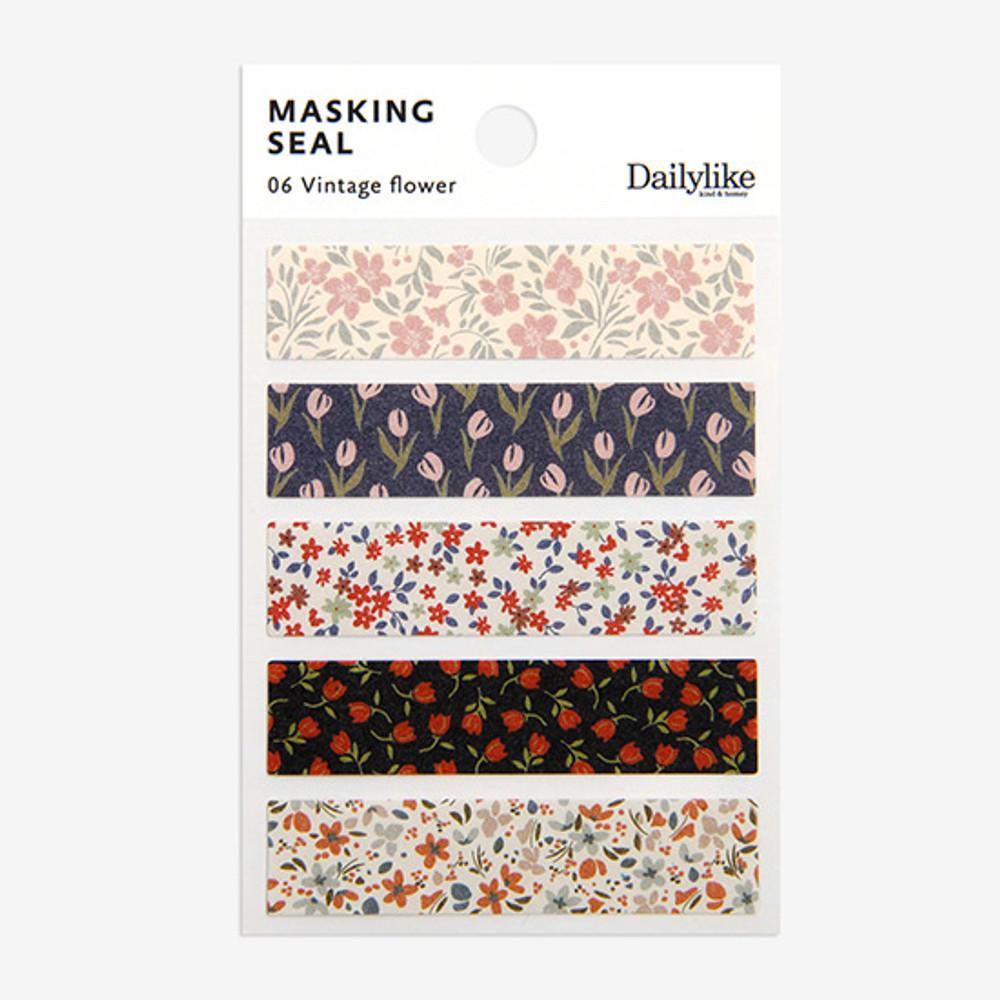 Dailylike Vintage flower masking seal paper deco sticker 4 sheets set