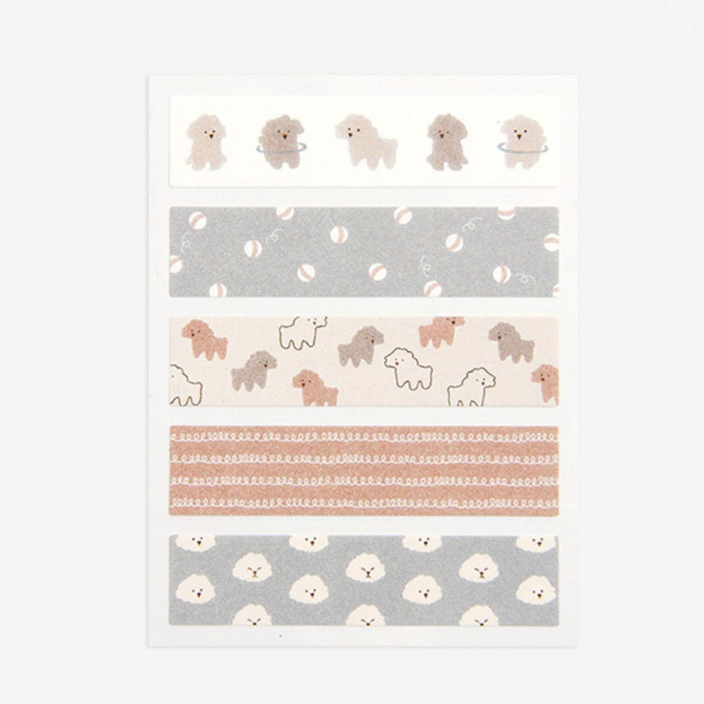 Dailylike Poodle masking seal paper deco sticker 4 sheets set