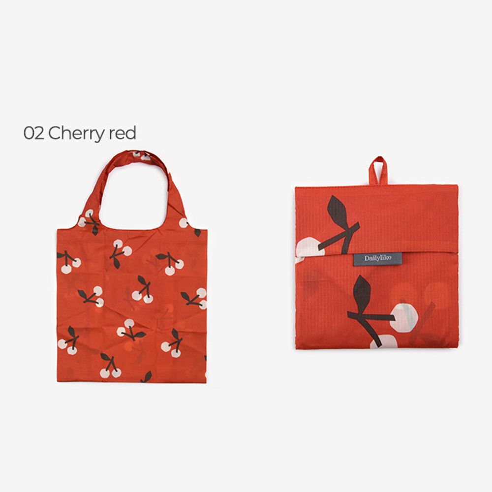 Cherry red - Dailylike Pocket XL shopping travel foldable shoulder bag