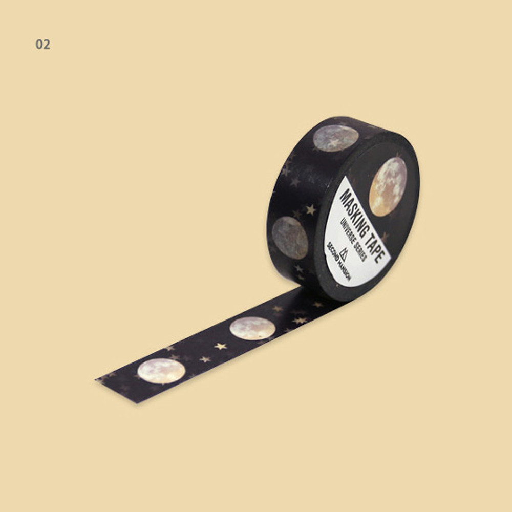 02 - Universe moon 15mm width deco masking tape 02