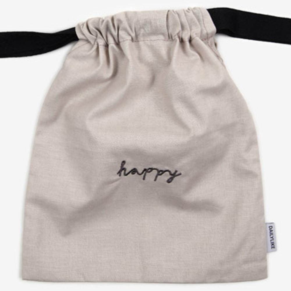 Dailylike Happy daily cotton drawstring pouch