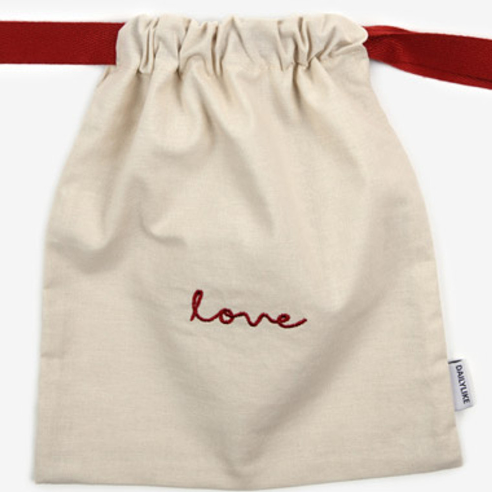Detail of Dailylike Love daily cotton drawstring pouch