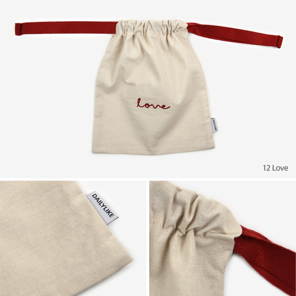 Dailylike Love daily cotton drawstring pouch