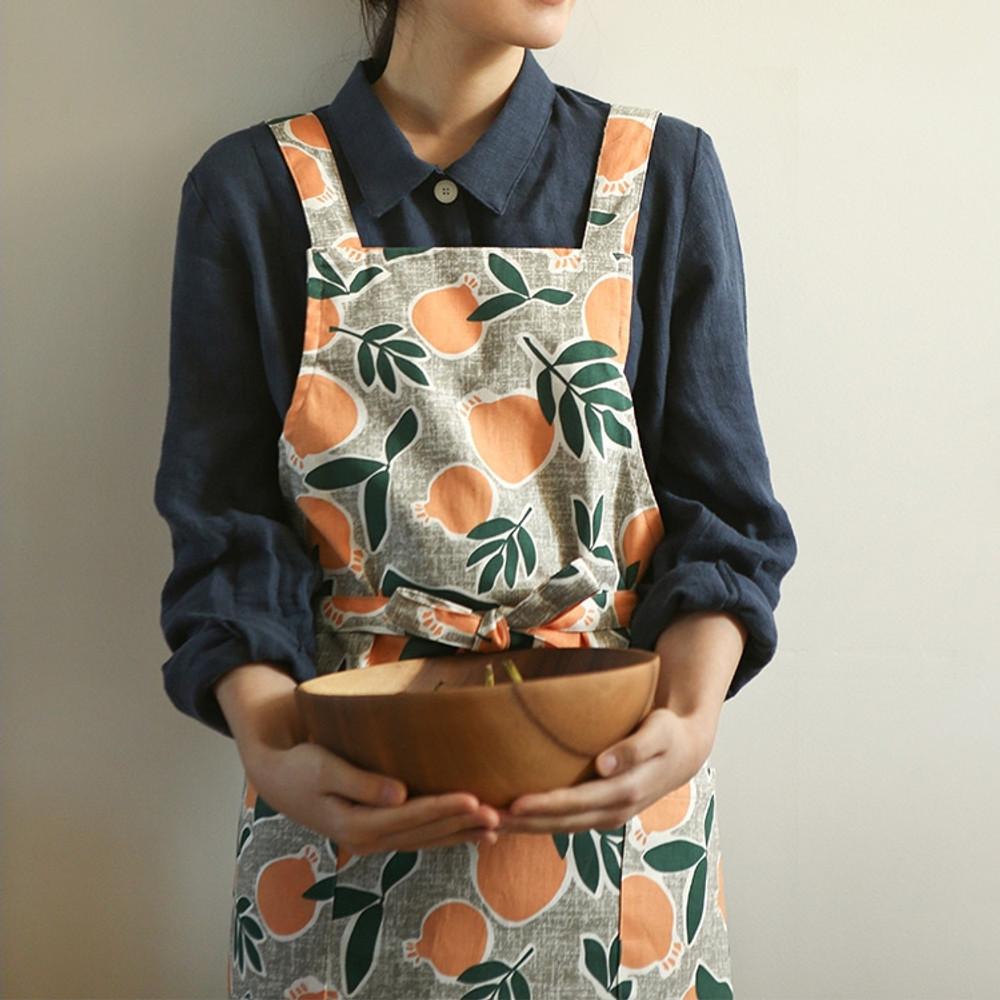 Example of use - Dailylike Sweet fruits pattern oxford fabric cross back apron