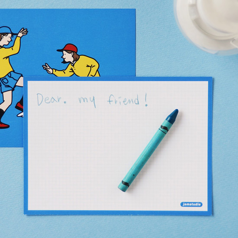 Grid card - Jam Studio Boy and girl message postcard with envelope