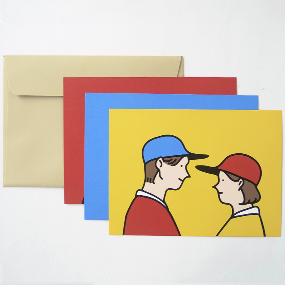 Comes with envelope - Jam Studio Boy and girl message postcard with envelope