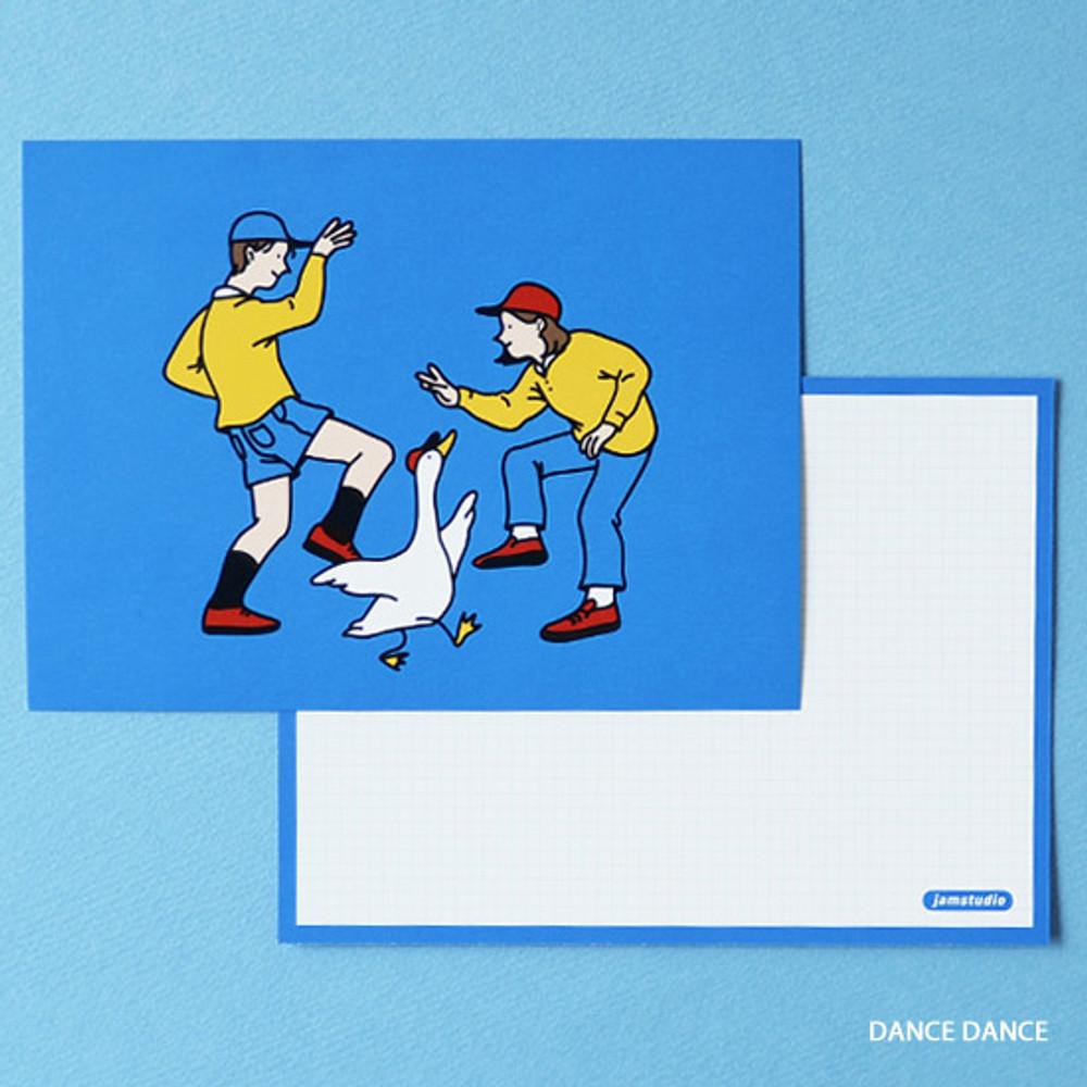 Dance dance - Jam Studio Boy and girl message postcard with envelope