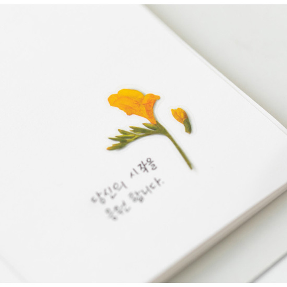 Example of use - Appree Freesia press flower deco sticker