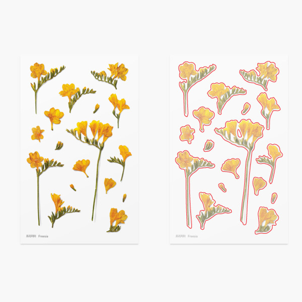 Appree Freesia press flower deco sticker