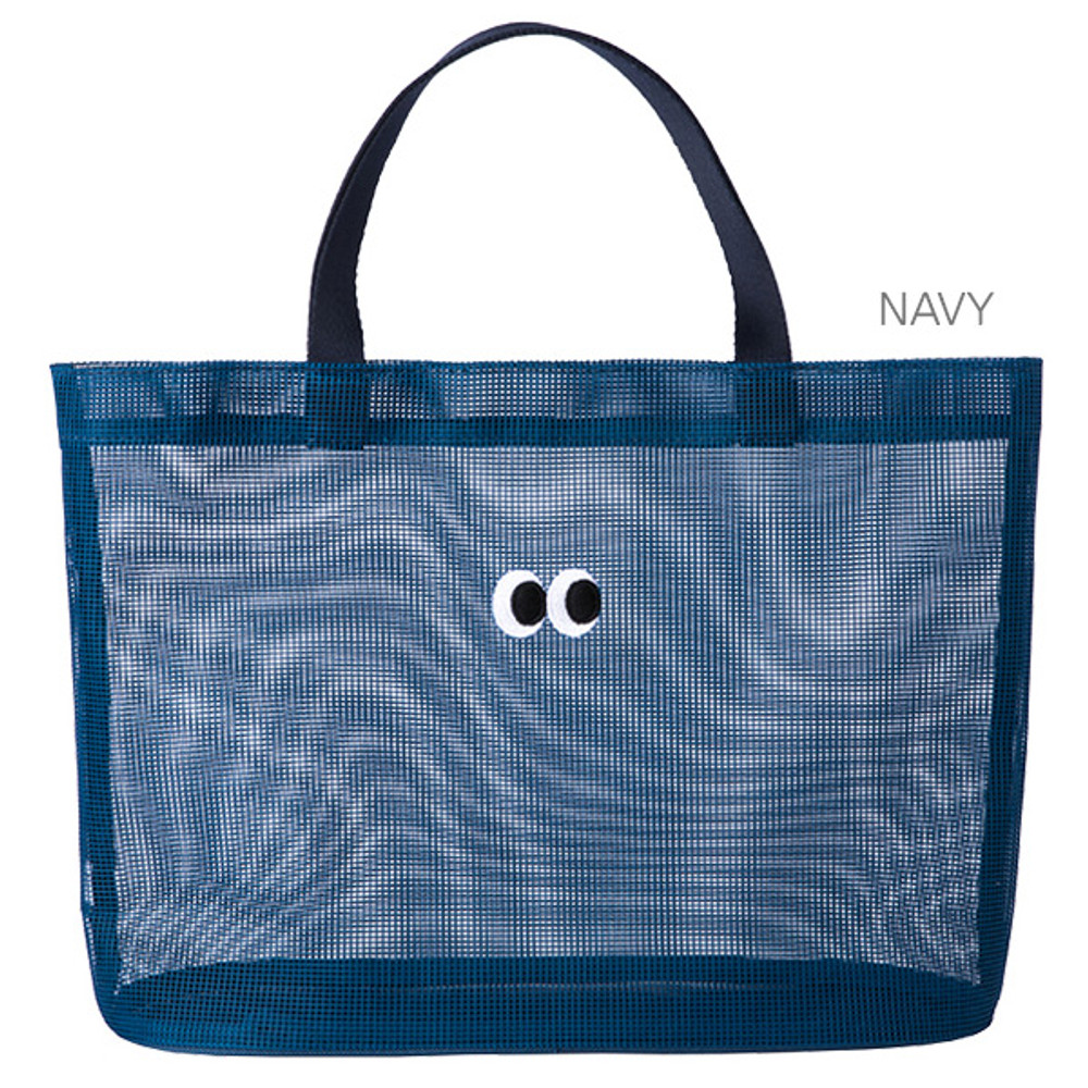 Navy -  Livework Som Som stitch mesh snap button tote bag