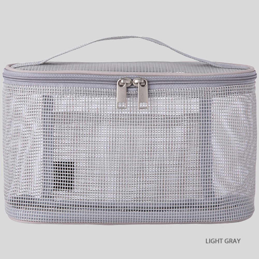 Light gray - Livework A low hill spa mesh makeup cosmetic zipper pouch