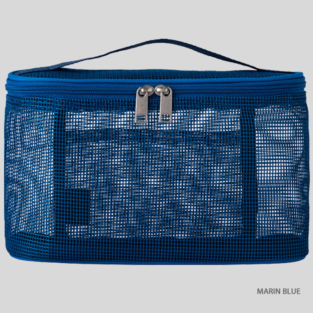Marin blue - Livework A low hill spa mesh makeup cosmetic zipper pouch