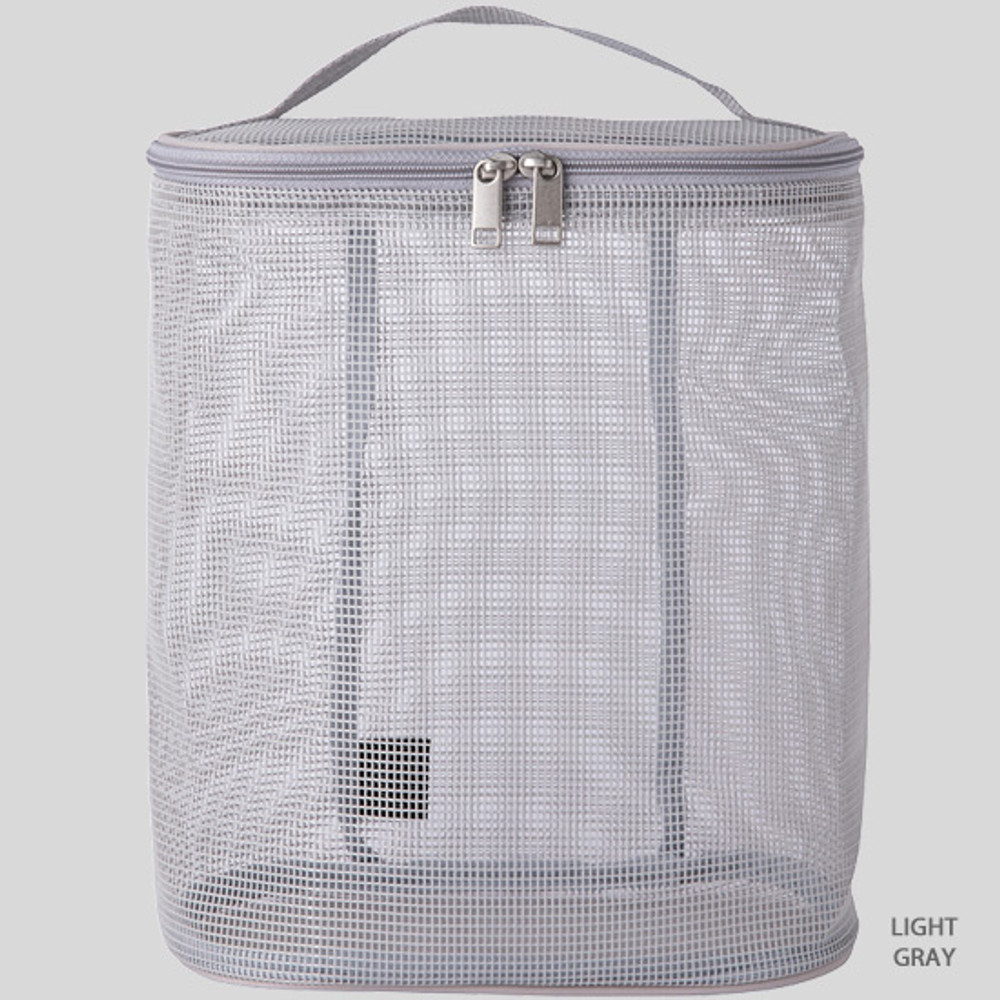 Light gray - Livework A low hill spa mesh travel zipper tote bag