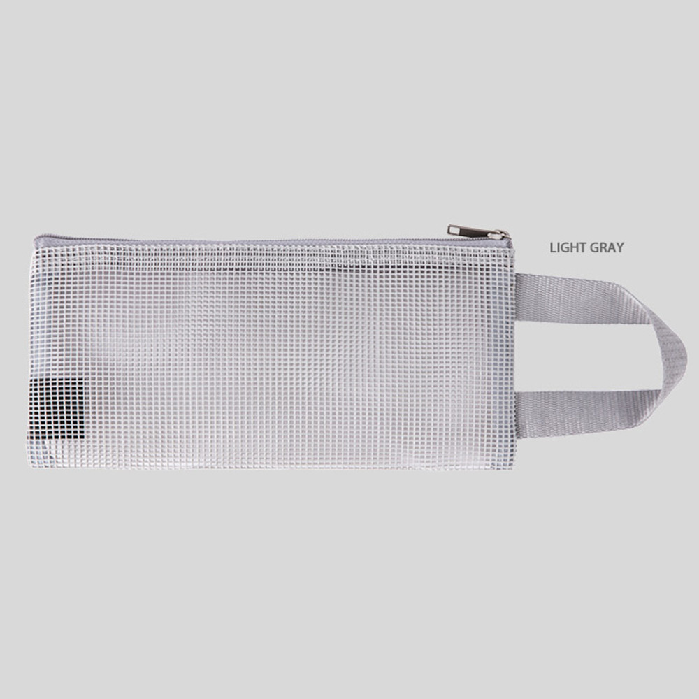 Light gray - Livework A low hill handle mesh travel zipper pouch