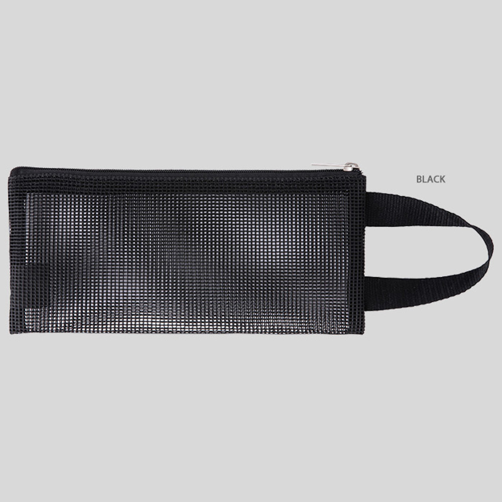 Black - Livework A low hill handle mesh travel zipper pouch