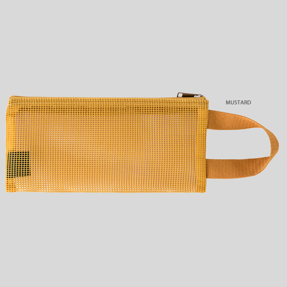 Mustard - Livework A low hill handle mesh travel zipper pouch