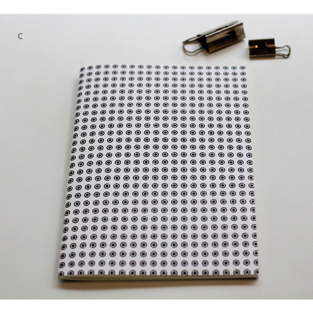 C - Inndesign Black and white pattern A5 grid blank notebook