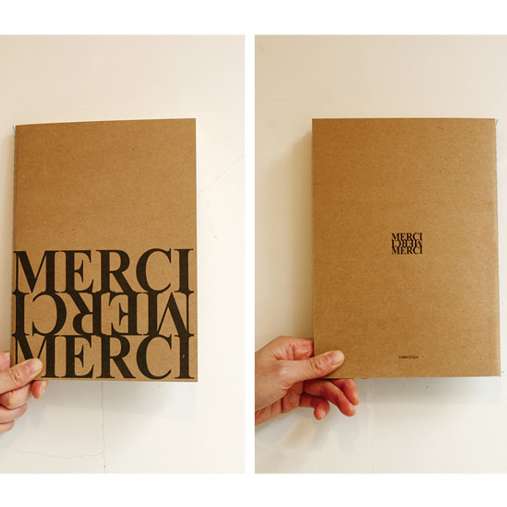 Front and Back - Inndesign Merci Kraft cover A5 blank notebook