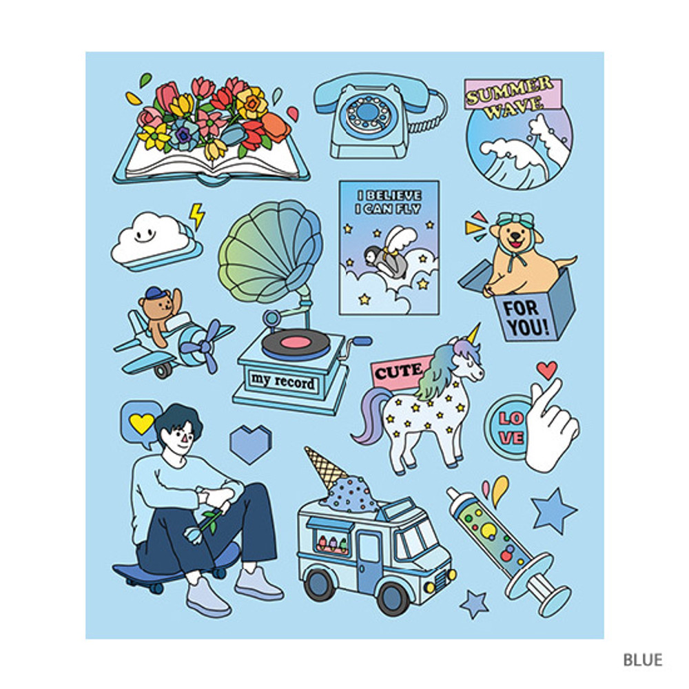 Blue - Pop illustration colorful point paper deco sticker ver2