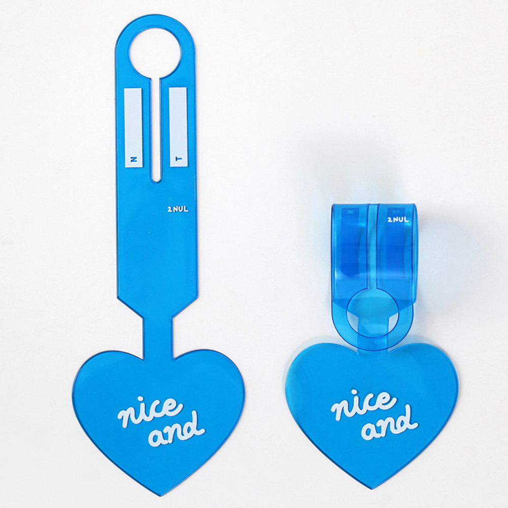 Blue - 2NUL Nice and clear heart travel luggage name tag