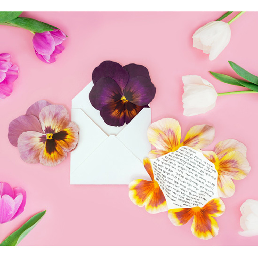 ABJECTION Pansy flower card and envelope set ver2