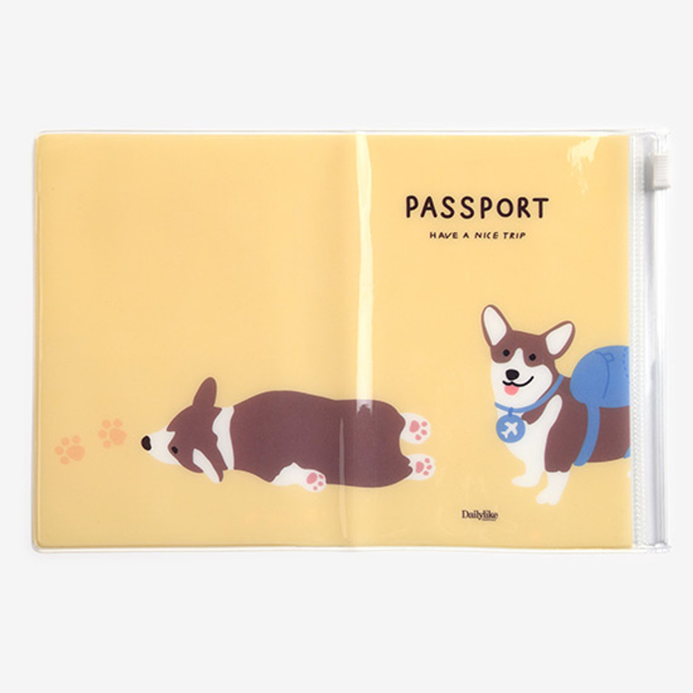 Detail of Dailylike Backpack corgi zip pocket travel passport cover holder