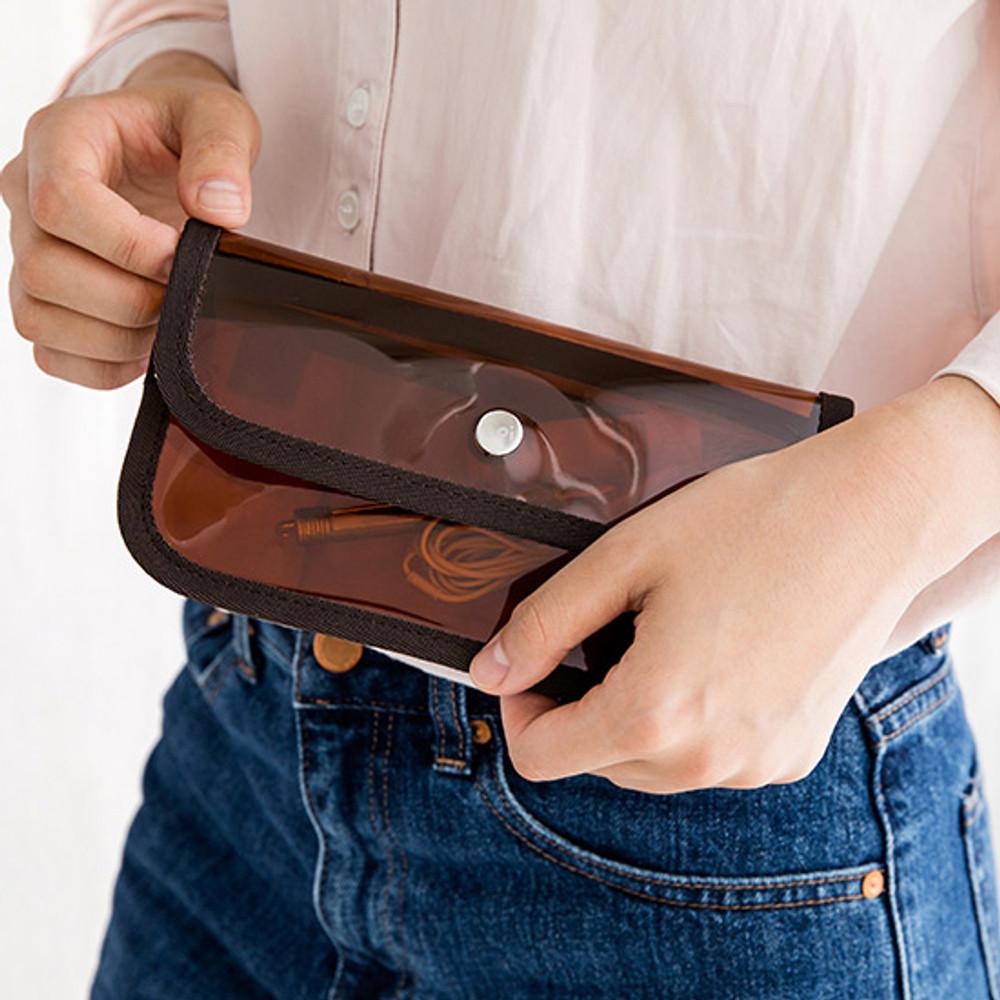 Livework Coi clear PVC snap button clutch bag pouch