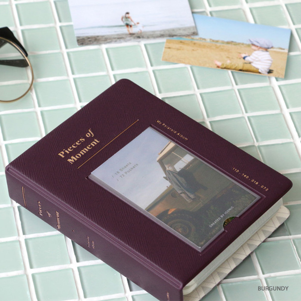 Burgundy - ICONIC Instax mini polaroid slip in photo album ver4
