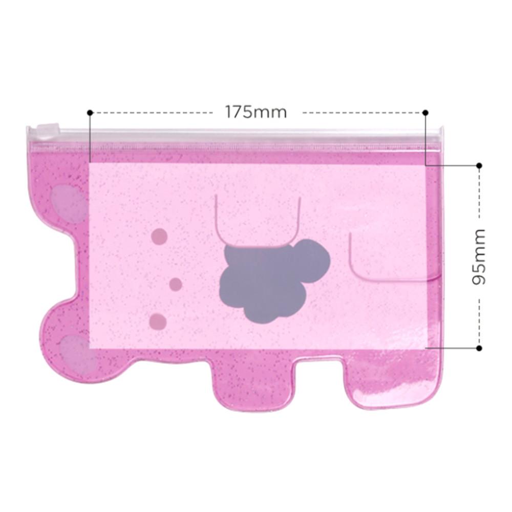 Size of Jelly bear medium clear zip lock pouch