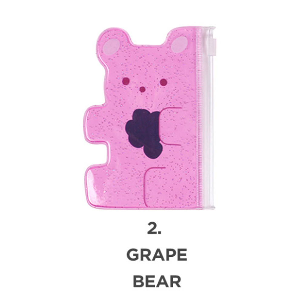 Grape bear - Jelly bear party small clear zip lock pouch