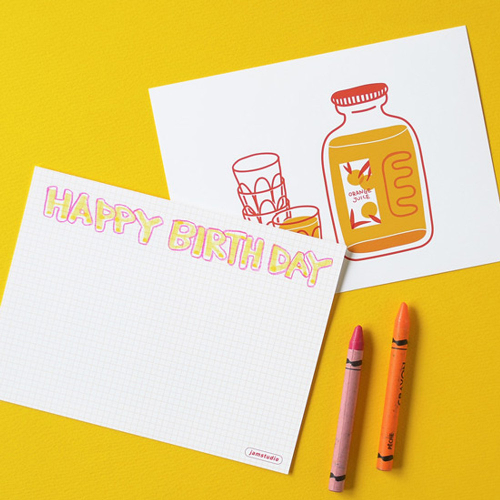 Example of use - Jam Studio Orange juice message card with envelope