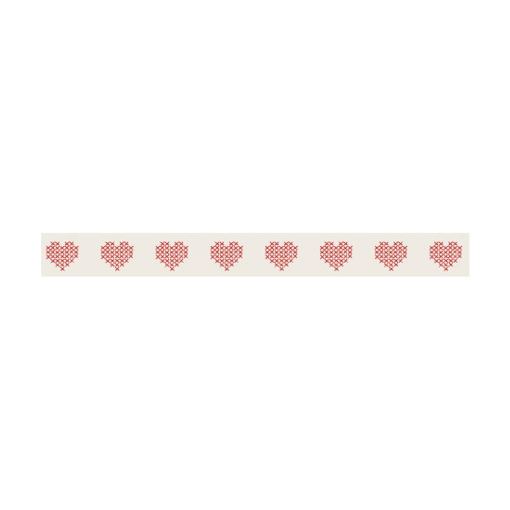 Detail of Dailylike Heart cross stitch single roll paper masking tape