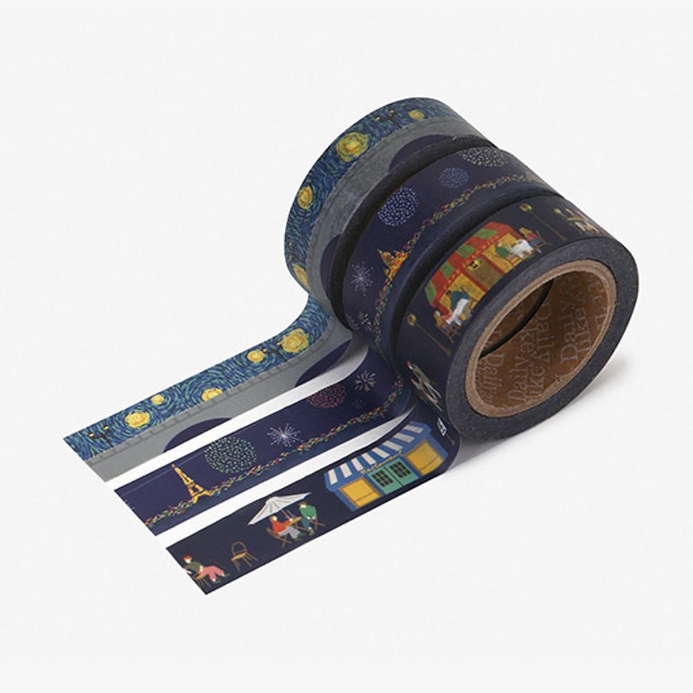 Dailylike Midnight paper masking tape set of 3
