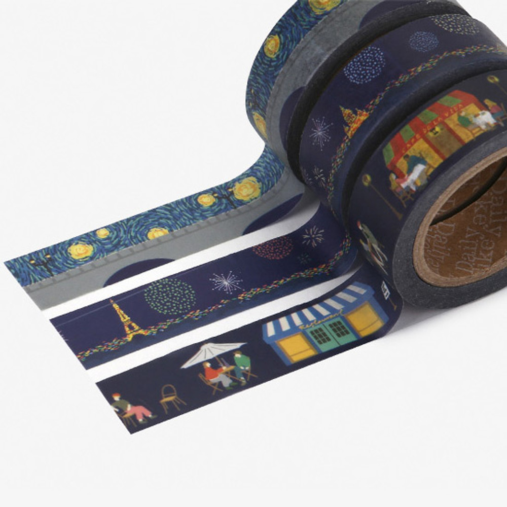 Detail of Dailylike Midnight paper masking tape set of 3