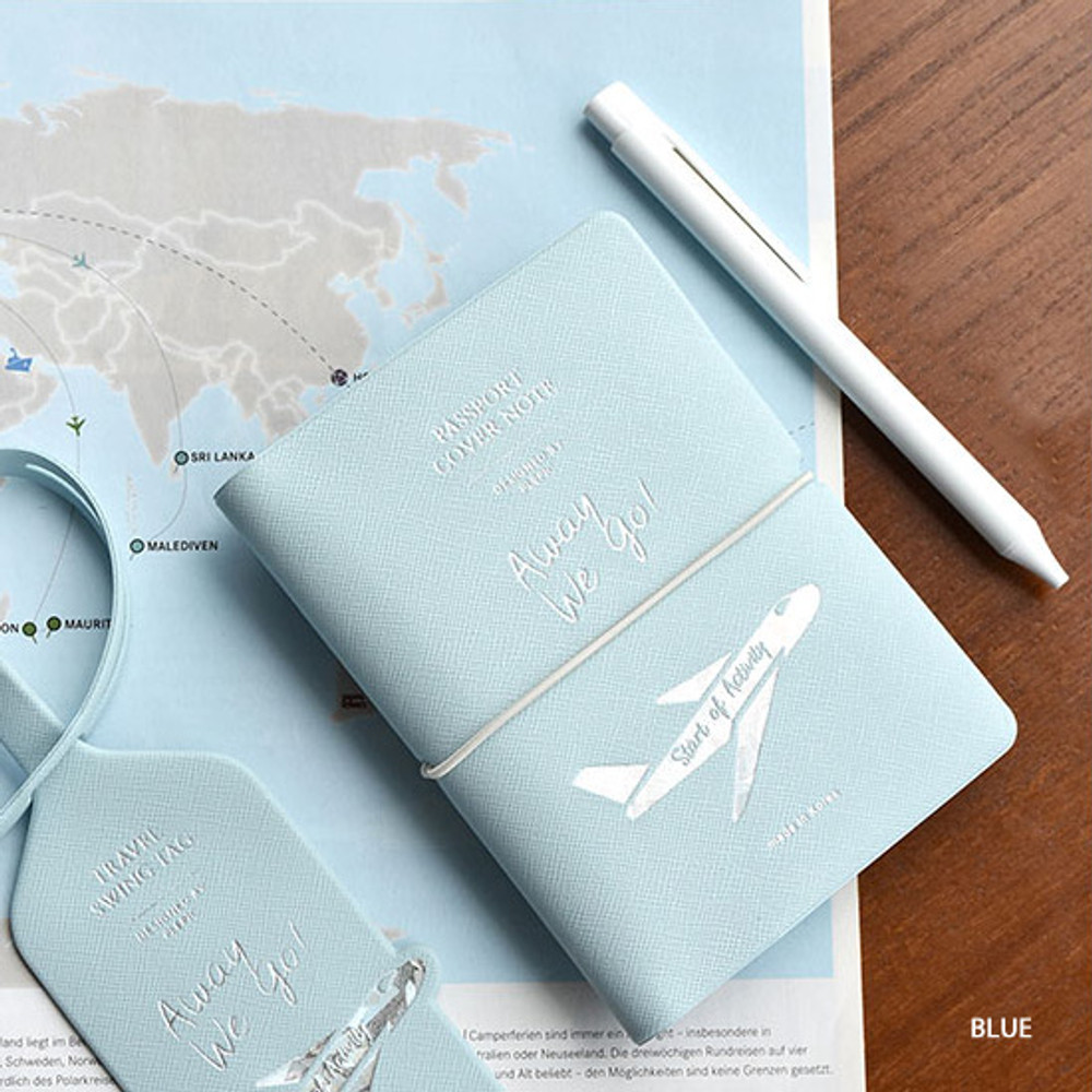 Blue - Play Obje Alway we go hologram passport cover holder with a travel planner
