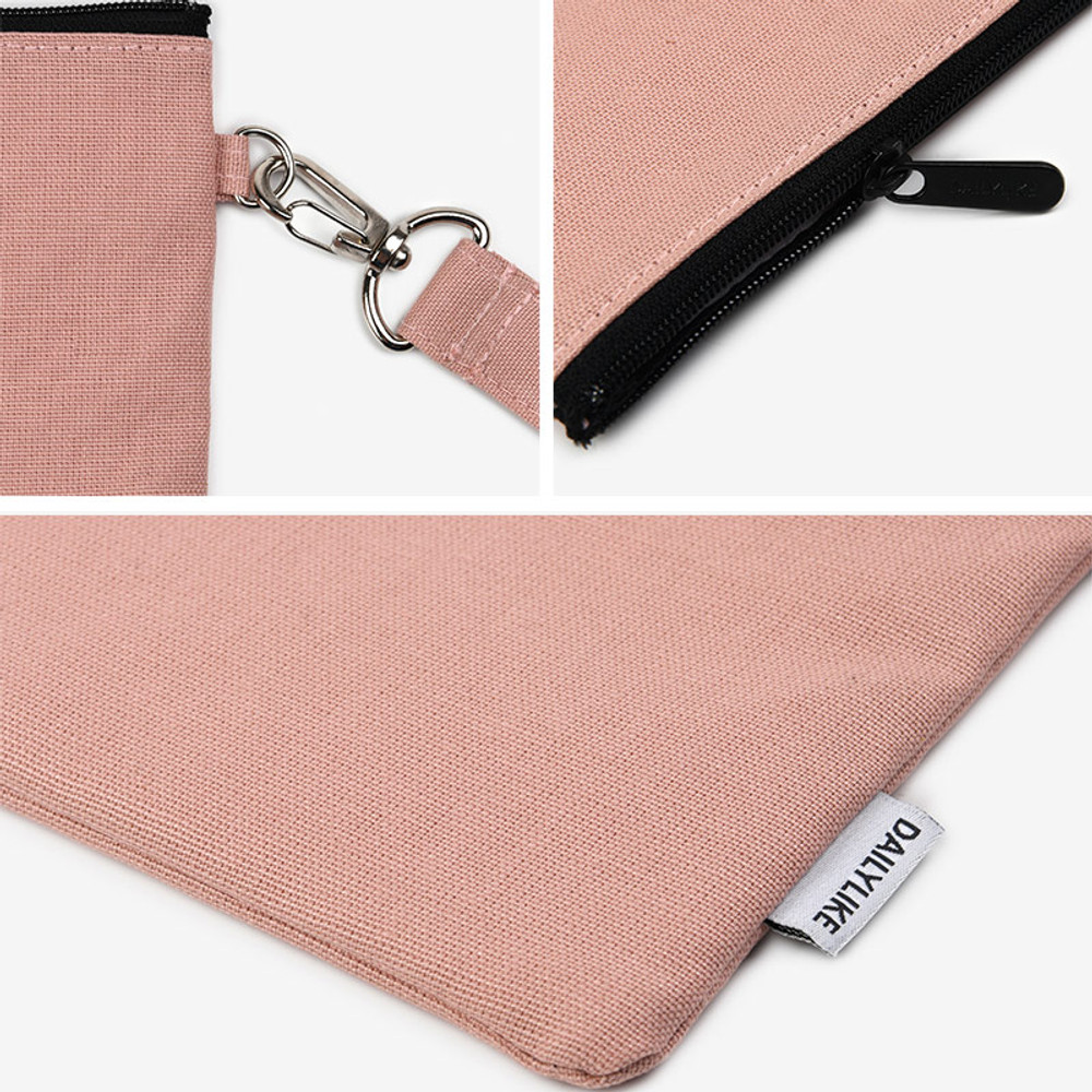 Indi pink - Dailylike Oxford cotton flat zipper pouch with a strap