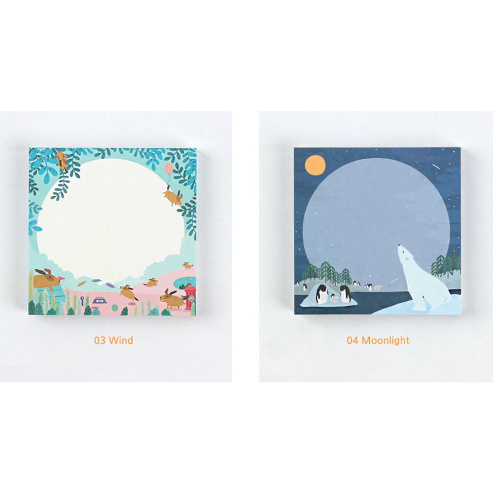 Wind, Moonlight - The Bon Bon jour trois fois square memo notepad