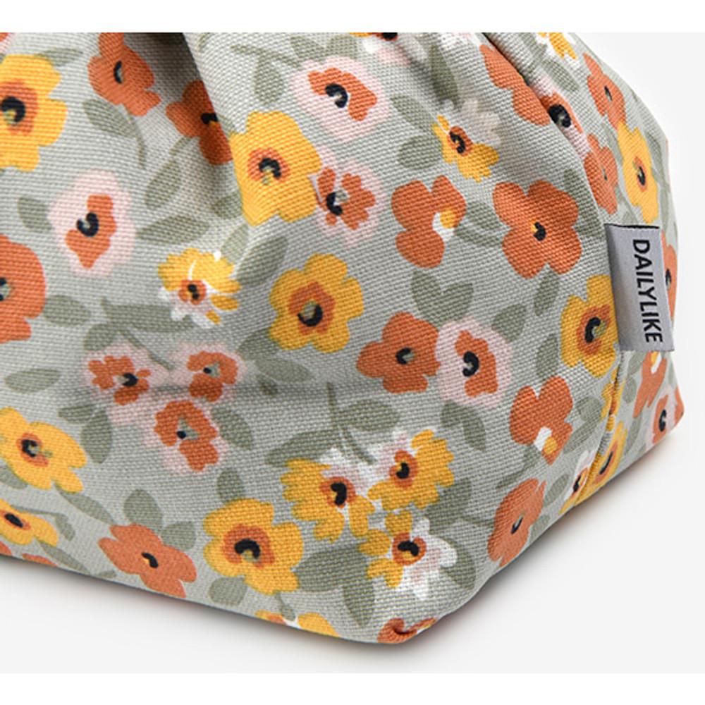Detail of Dailylike Warm flower soft oxford cotton bucket drawstring pouch